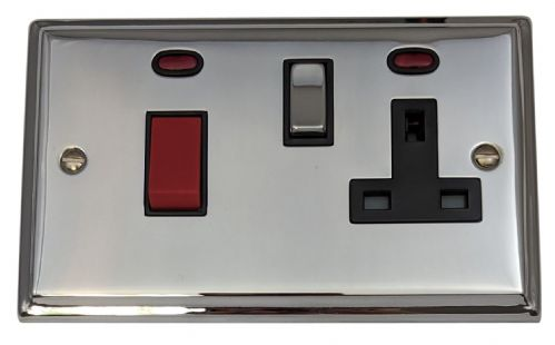 G&H DC329 Deco Plate Polished Chrome 45 Amp DP Cooker Switch & 13A Switched Socket